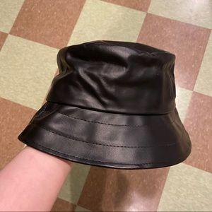 UO genuine leather black bucket hat